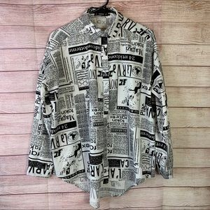 Shein Black and White Print New Blouse Small
